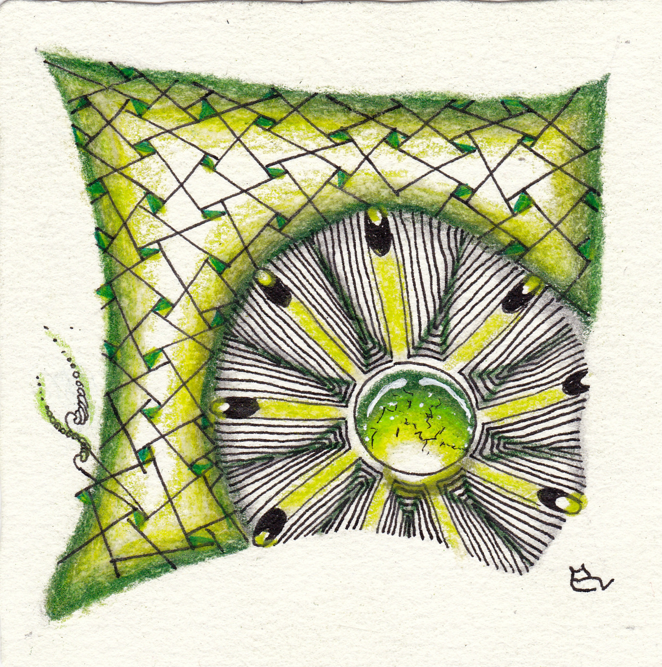 Zentangle inspired art with the pattern Eaxy designed by Nadine Roller, drawn by Ela Rieger