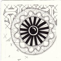 Ein Zentangle aus den Mustern Lot, Sun Up Sun Down, NEWS,  gezeichnet von Ela Rieger, CZT