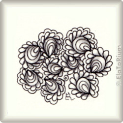 Zentangle-Pattern 'Feathered Clam Shells' by LuAnn Kessi, presented by www.ElaToRium.de