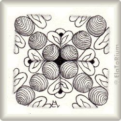 Zentangle-Pattern 'Hearts and Flowers' by Carol Taylor, presented by www.ElaToRium.de