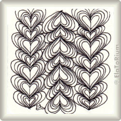 Zentangle-Pattern 'Heartswell' by Helen Williams, presented by www.ElaToRium.de