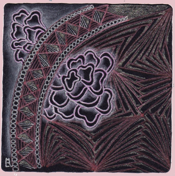 A black Zentangle® tile drawn with the patterns Betweed, Morph, Avreal, by Ela Rieger CZT.