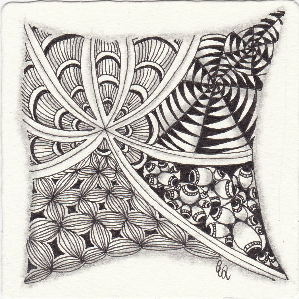 Ein Zentangle aus den Mustern Bloom, Whatz That, Daggerly, Drupe gezeichnet von Ela Rieger, CZT