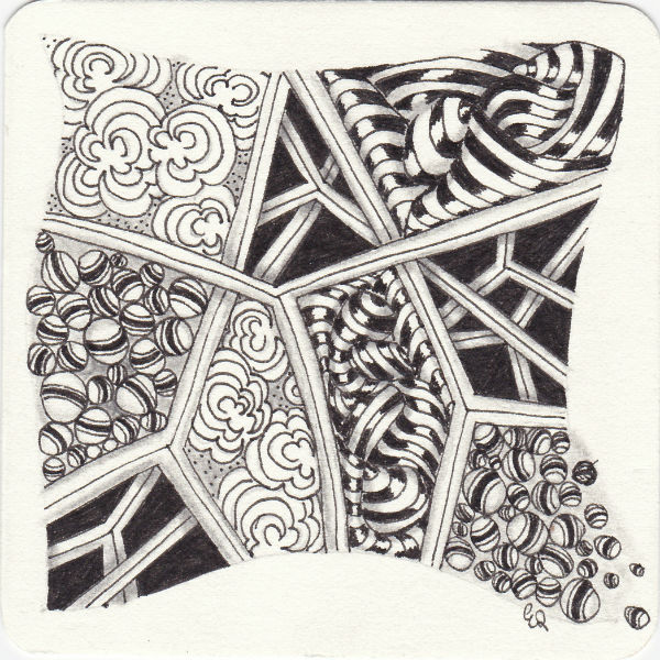 Ein Zentangle aus den Mustern Pop Cloud, Jetties, Windfarm, Striping gezeichnet von Ela Rieger, CZT