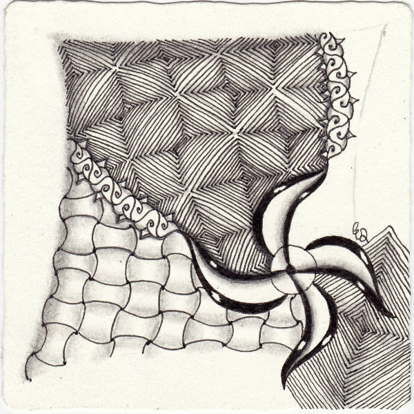 Ein Zentangle aus den Mustern Pin-Will, Huggins, Emingle, Jewellep gezeichnet von Ela Rieger, CZT