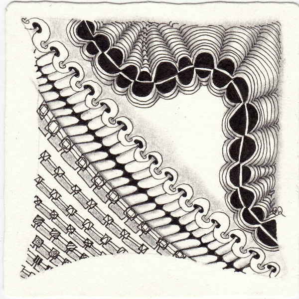 Ein Zentangle aus den Mustern Snaking, Squanection, Stitch, Tootsiemoon gezeichnet von Ela Rieger, CZT