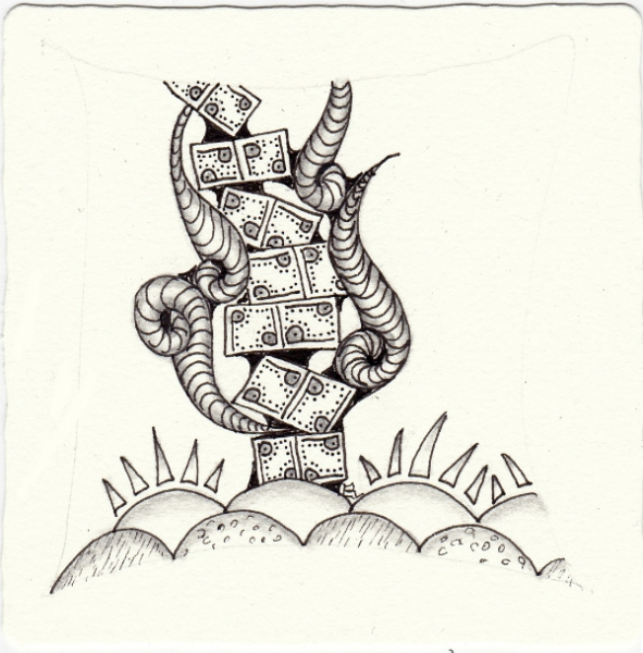 Ein Zentangle aus den Mustern Morning, Pand, Repeat Pattern Stacks, Up in smoke gezeichnet von Ela Rieger, CZT