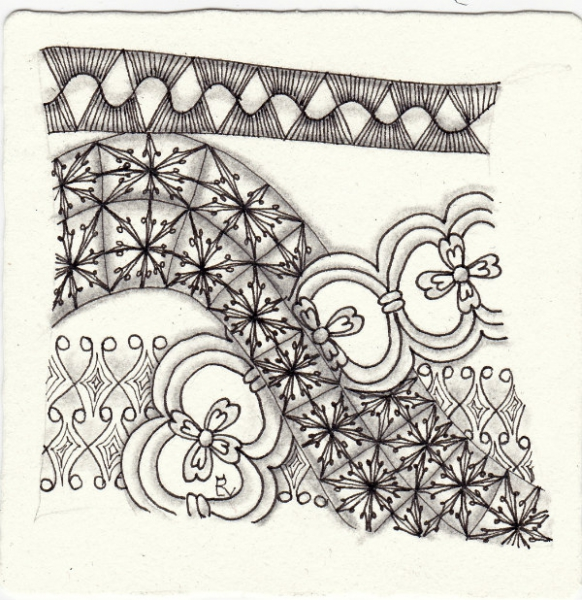 Ein Zentangle aus den Mustern Sun Up Sun Down, Snag, Persian Flower Border 2, Lirik gezeichnet von Ela Rieger, CZT