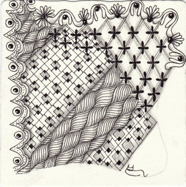 Ein Zentangle aus den Mustern Boxed Up, Egg Shell, Feston, Groovy gezeichnet von Ela Rieger, CZT