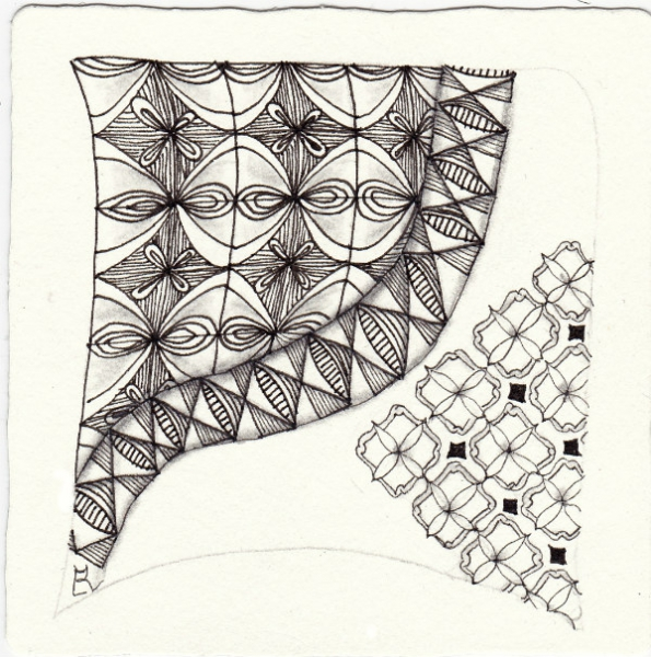 Ein Zentangle aus den Mustern Curly Braces Too, Piont the Way, Tilda,  gezeichnet von Ela Rieger, CZT