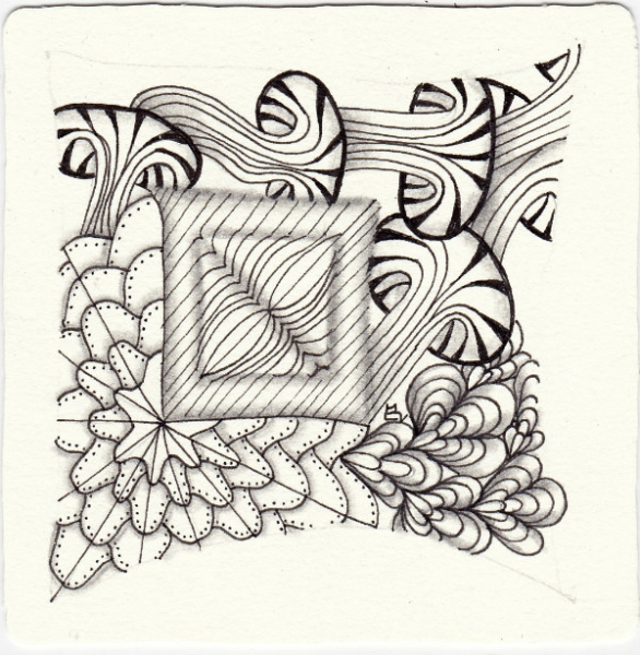 Ein Zentangle aus den Mustern andHop, Betweed Flower, Calipo, D´rua gezeichnet von Ela Rieger, CZT