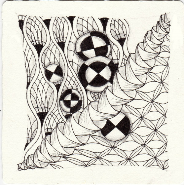 Ein Zentangle aus den Mustern Knights of round Table, Merryweather, Pineple, Pots-N-Pans gezeichnet von Ela Rieger, CZT