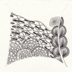 Ein Zentangle aus den Mustern Candy Waves, Tree-Three, Cobbles,  gezeichnet von Ela Rieger, CZT