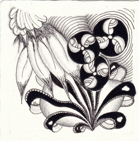 Ein Zentangle aus den Mustern Two Feather, Aquafleur, Beez,  gezeichnet von Ela Rieger, CZT