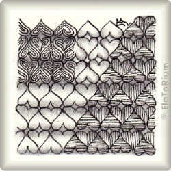 Zentangle-Pattern 'Heart Devided' by Helen Williams, presented by www.ElaToRium.de