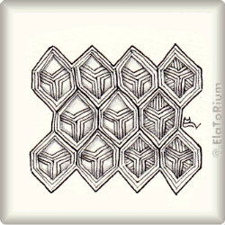 Zentangle-Pattern 'Hexalay' by Lizzie Mayne, presented by www.ElaToRium.de