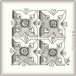 Zentangle-Pattern 'Persian Hearts' by Neil Burley, presented by www.ElaToRium.de