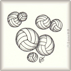 Zentangle-Pattern 'Volleyball' by Katie Morris, presented by www.ElaToRium.de