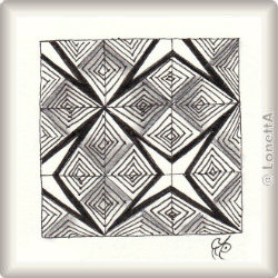 Zentangle-Pattern 'Wedge' by Rosemary Turpin, presented by www.ElaToRium.de