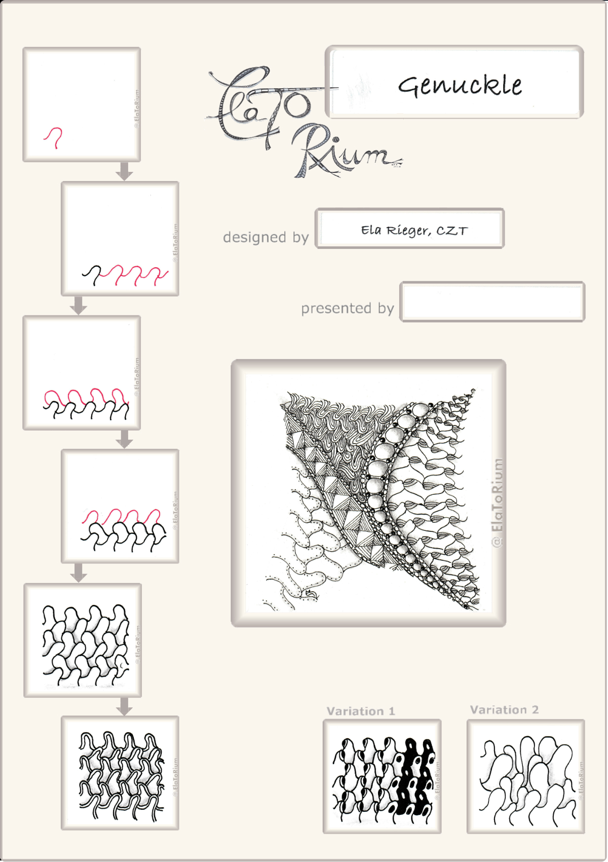 Zentangle-Pattern 'Genuckle' designed by Ela Rieger CZT, presented by www.ElaToRium.de